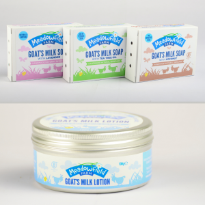 Goats milk skincare products in new packaging